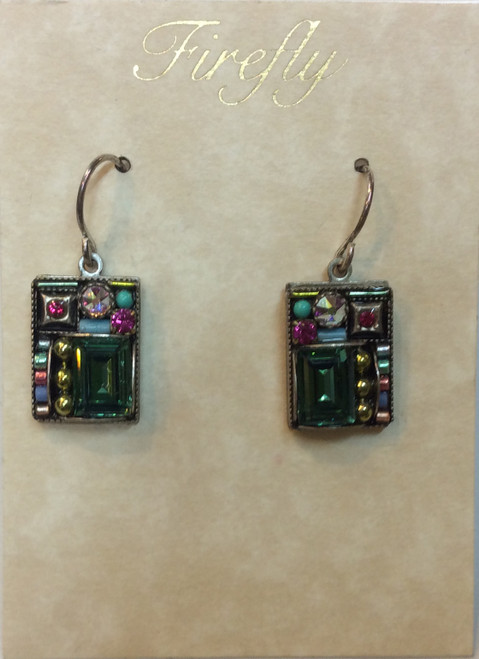 Firefly Earrings. Square, multi jeweled at Bijou's Boutique