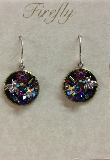 Firefly Round Bee jeweled earrings. Swarovski crystals. Sterling silver ear wire. at Bijou's Boutique