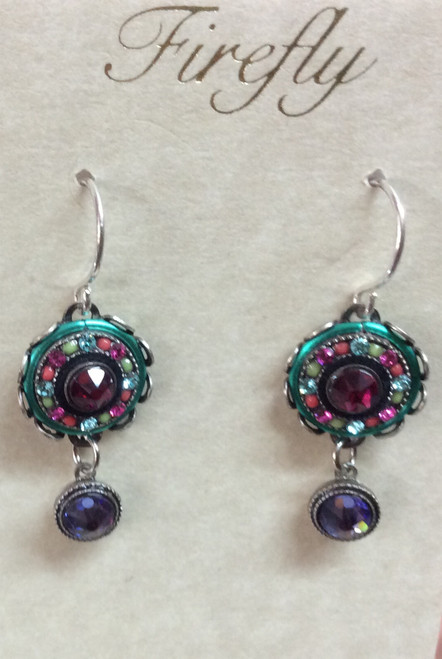 Firefly La Dolce Vita Round jeweled earrings with Swarovski crystals at Bijou's Boutique