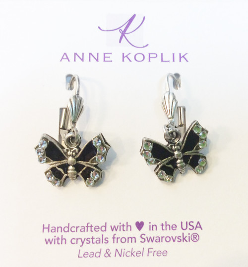 Anne Koplik Butterfly earrings. Black enamel with Swarovski crystals at Bijou's Boutique