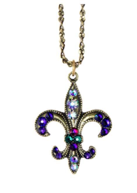 Anne Koplik Fleur De Lis necklace with Swarovski crystals at Bijou's Boutique.