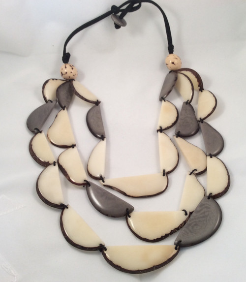 tagua necklace. Hand made in Ecuador from a nut.fair trade at Bijou's Boutique