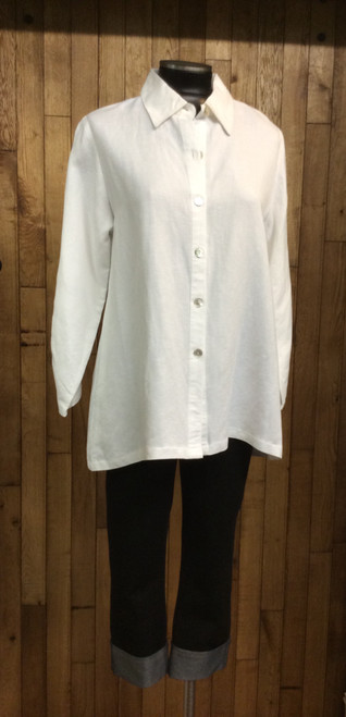 Toofan White Linen Shirt with Gold Zipper Detail on Back at Bijou's Boutique.   Ruched sleeves.  100% Linen.   This Shirt runs generous... you can go down in size.