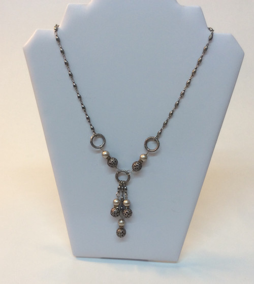 "Anne Koplik ""designer antiqued silver chain and beads with pearls and Swarovski crystals at Bijou's Boutique"