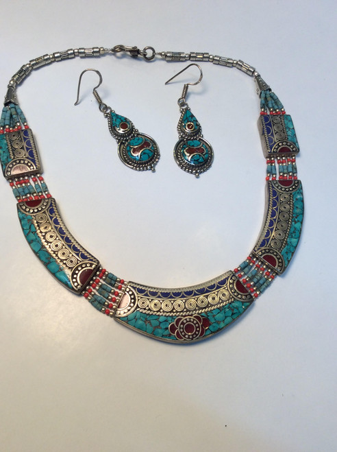 Tibet short necklace and earrings set. Silver plate with coral lapis and turquoise at Bijou's Boutique.