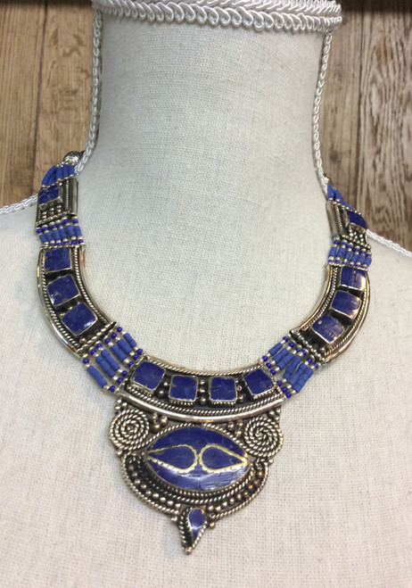 Silver plated necklace from Tibet with lapis at Bijou's Boutique.