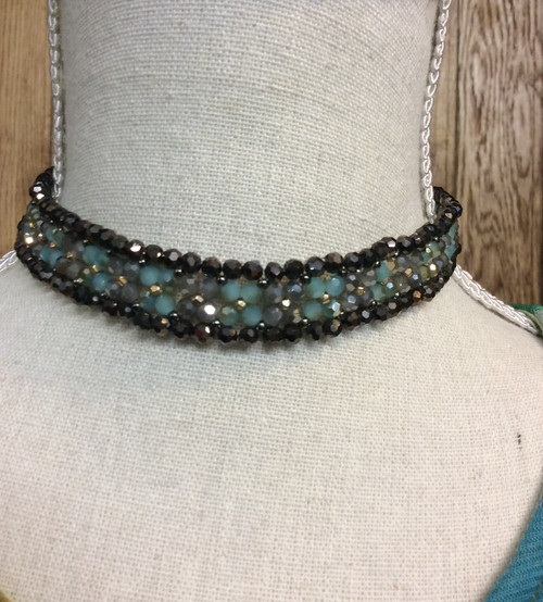 Nakamol crystal beads Choker. Has a little stretch. Extension chain in the back at Bijou's Boutique.