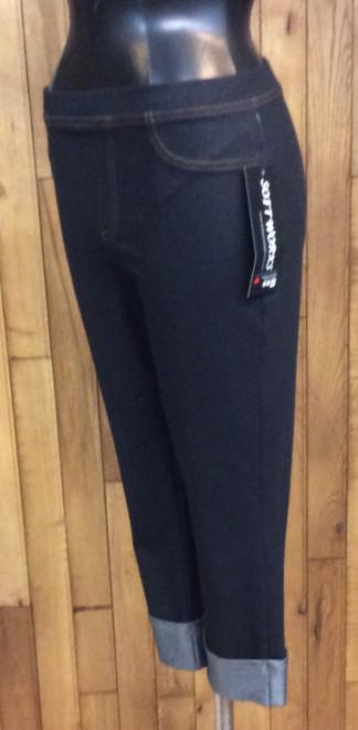 Softworks black stretch denim cuffed crop pants at Bijou's Boutique.