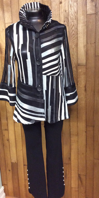 Damee Méche black and white ribbon jacket at Bijou's Boutique.