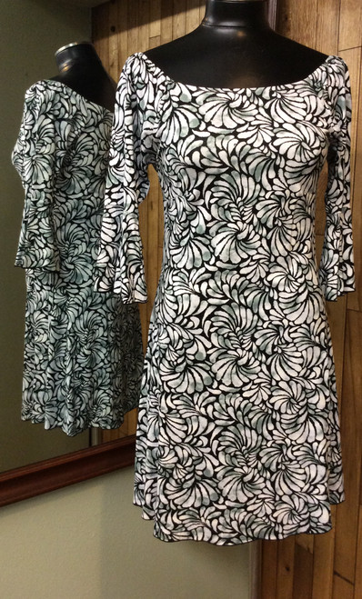 Zen-knits black, white, and sage floral dress at Bijou's Boutique.