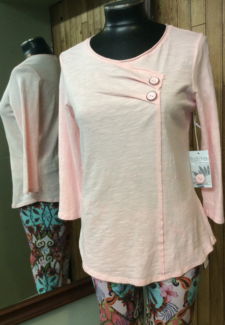Habitat pink top with 2 cute buttons detail at Bijou's Boutique.