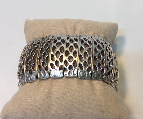Sectioned zinc based bracelet, nickel free, made in Turkey at Bijou's Boutique.