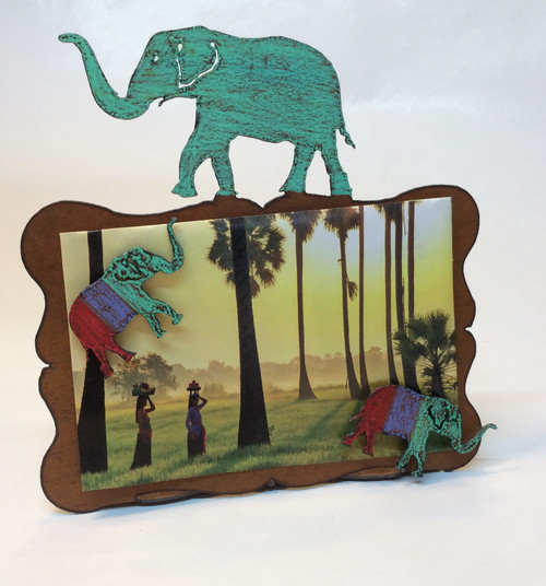 Elephant metal picture frame at Bijou's Boutique.