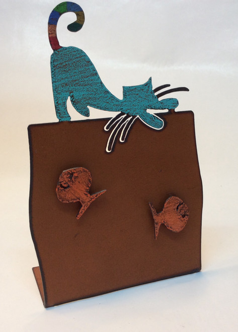 "Cat picture frame at Bijou's Boutique. Cut metal, hand painted frame. Cat motif with 2 cat magnets. Frame size 6""x6""."