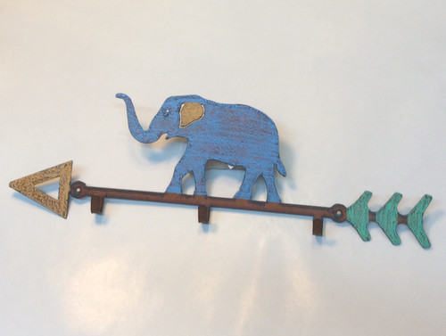 3 hooks Elephant cut metal hand painted at Bijou's Boutique.