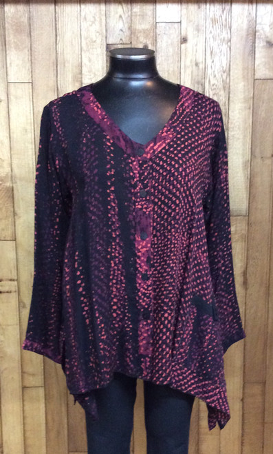Iguana burgundy Batik tunic at Bijou's Boutique. Iguana is known for its beautiful finish work. Button front. This line runs bigger. Colors in batik are burgundy, black, peach, purple mix.