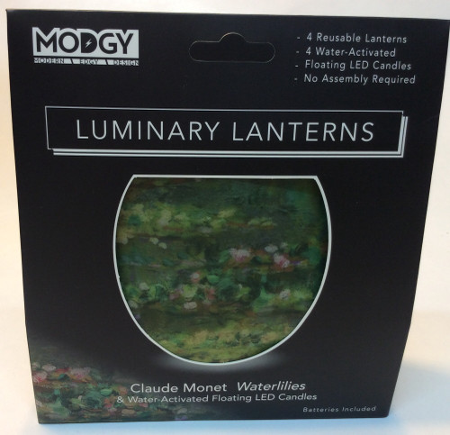 MODGY Luminary Lantern, Monet Waterlilies at Bijou's Boutique. Contains 4 reusable lanterns, 4 water activated floating LED candles, no assembly required. Batteries included.