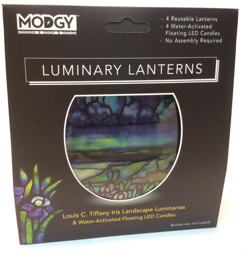 MODGY Luminary Lantern, Tiffany Iris at Bijou's Boutique. Contains 4 reusable lanterns, 4 water activated floating LED candles, no assembly required. Batteries included.