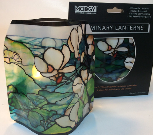 MODGY Luminary Lantern, Tiffany Magnolia at Bijou's Boutique. Contains 4 reusable lanterns, 4 water activated floating LED candles, no assembly required. Batteries included. Not to be used with open flame candle.