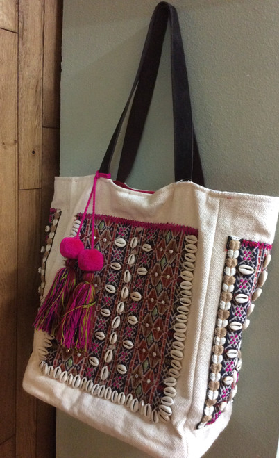 "Large Summer Tote Bag at Bijou's Boutique.  Hand sewn beads and shells on this amazing Large tote with fuschia lining and large decorative pompons.  17""x13""x7"". Opens nice and big. With one snap, closure strap is leather and cotton."