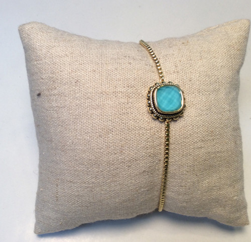 Adjustable bracelet with turquoise crystal by Covenant Fashion at Bijou's Boutique.