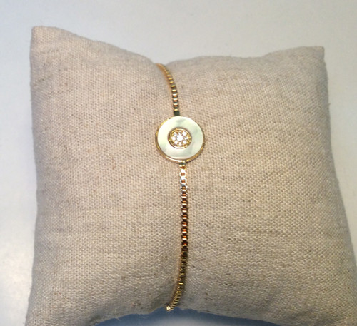 Adjustable bracelet with crystal and mother of pearl by Covenant Fashion at Bijou's Boutique