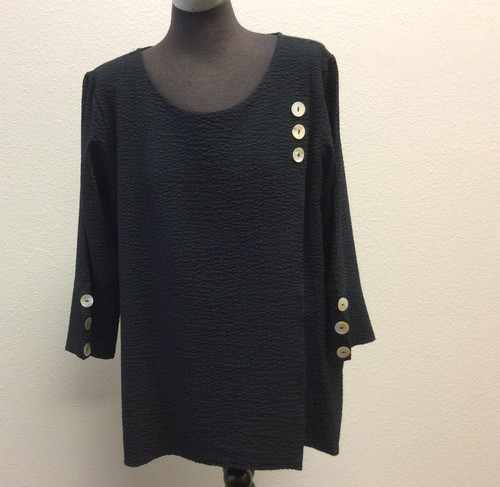Toofan black top with button treatment at Bijou's Boutique. Poly/rayon blend, wash and wear!