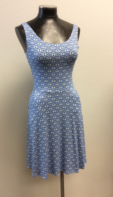 Salaam blue and white print dress at Bijou's Boutique. 95% rayon/5% spandex. Very flirty and soft. Cool for summer. Pockets! Made in the U.S.A.
