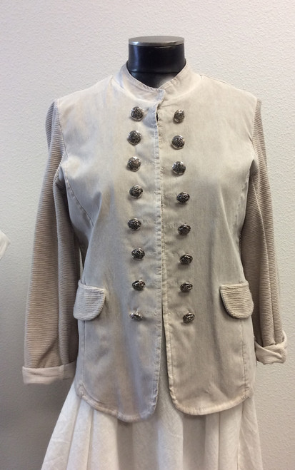 Tempo Paris open jacket with button treatment and faux pockets at Bijou's Boutique. Light and stretchy. Beige color. 95% cotton, 5% spandex. Made in Italy.