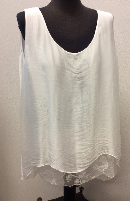 Tempo Paris long white tank top with loose fitting lace and layered silk at Bijou's Boutique. Made in Italy.