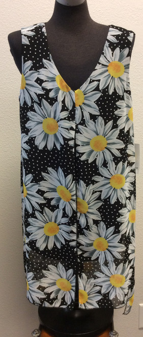 Compli K Voile Daisy Print  over black tank sleeveless tunic top at Bijou's Boutique.  Voile is slit in the front and on both sides and is longer in the back.  This line runs generous and is Made in CANADA.