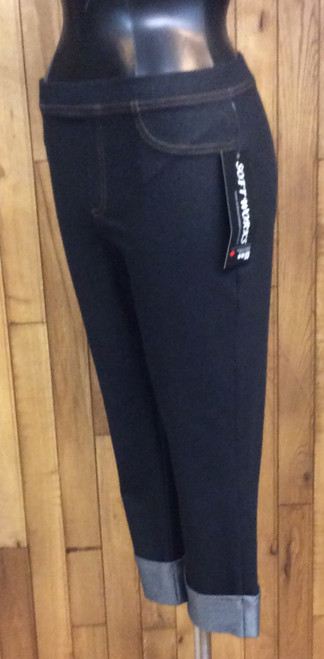 Softworks Denim Strecth Crop Pants at Bijou's Boutique. Super soft! Cuffed. Bijou's favorite pants in her closet! 70% cotton, 30% spandex. Made in Canada.