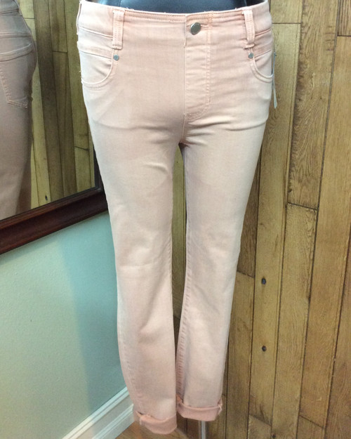 "Liverpool Dusty Rose Stretch Pull-On Jeans at Bijou's Boutique. Wear these ""Glider Crop"" jeans with unfinished hem straight or cuffed. Stretchy fabric is 57% Cotton, 25% Viscose, 9% Modal and 6% Polyester."