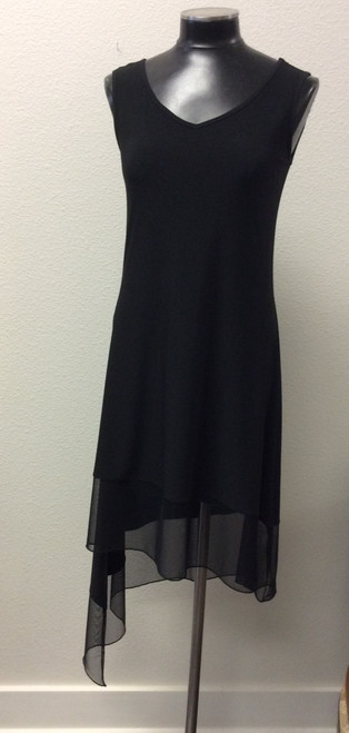 Compli K Sexy Black Sleeveless Dress at Bijou's Boutique.  Voile uneven hemline.  Made in Canada.  Perfect dress for traveling.  Poly/Spandex blend.