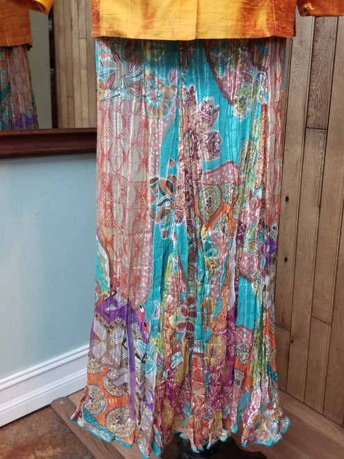 Anu by Natural Multi Colored Gauzed Skirt at Bijou's Boutique.  Turquoise fully lined skirt. 100%Rayon.
