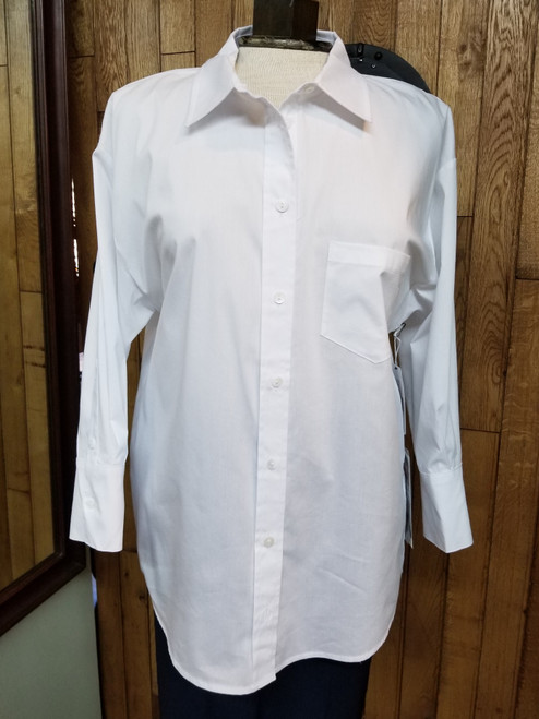 Liverpool White Front Pocket Blouse at Bijou's Boutique.  Button down with a slightly longer 3/4 sleeve with a wider, tight button cuff.  100% Cotton.