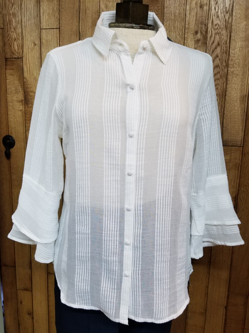 Liverpool Off White Stripe Patterned Blouse at Bijou's Boutique.  Double layer Bell sleeve with covered buttons.  Lightweight and 100% Cotton.