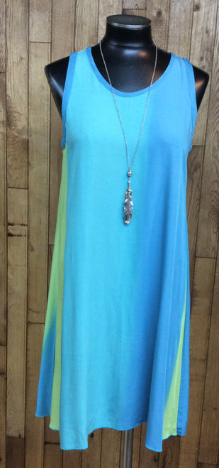 Iguana Blue Green Shift Dress at Bijou's Boutique.    Beautiful Blues and Greens in vertically blended stripes.  Light and Loose.  Great for Hot Summer Days.  100% Rayon.