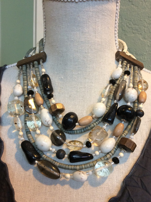 Wood & Acrylic Bead Necklace at Bijou's Boutique.  Big look but Super light! Only 1 in stock. If you like this look - Don't wait!