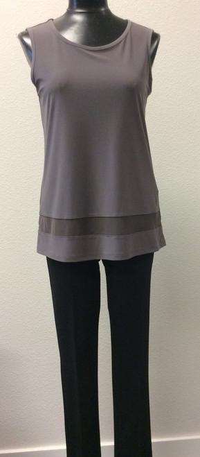 JJ Classic Sleeveless Tunic at Bijou's Boutique.  Mushroom color.  Mѐche trim near hemline.  Great travel material.  Poly/Spandex blend.