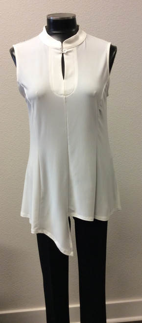 JJ Cream Sleeveless Uneven Hemline Tunic at Bijou's Boutique.  Mandarin collar with button.  Polyester/Spandex blend.