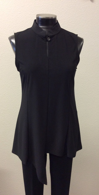 JJ Black Sleeveless Uneven Hemline Tunic at Bijou's Boutique.   Mandarin collar with button.  Polyester/Spandex blend.