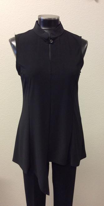 JJ Black Sleeveless Uneven Hemline Tunic at Bijou's Boutique.  Mandarin collar with button. Polyester/Spandex blend.