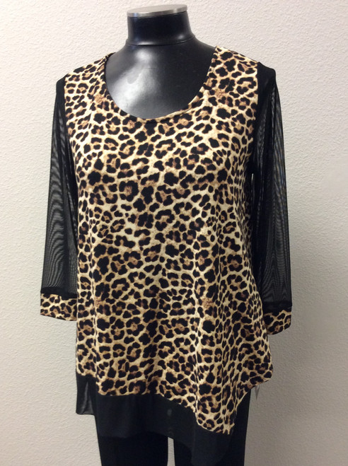 Inside Out Animal Print Tunic at Bijou's Boutique.  Mѐche detail sleeves to cuff and at hemline.  Super soft Polyester/Spandex blend fabric.  Made in the USA.