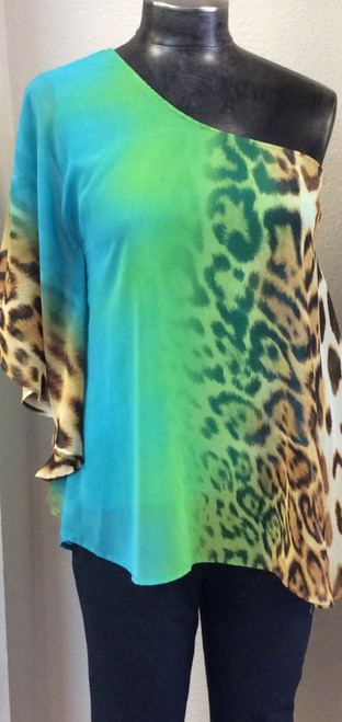 Ariella One Shoulder Top at Bijou's Boutique.  Fully lined. Feels like silk. Rayon/Polyester/Spandex blend.     NO RETURNS on CLEARANCE MERCHANDISE - FINAL SALE!
