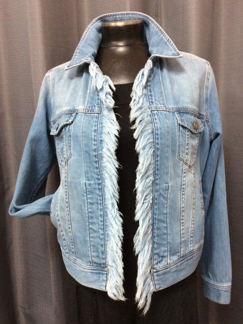 Liverpool Denim Fringe Jacket at Bijou's Boutique.  Lightweight with top and side pockets.