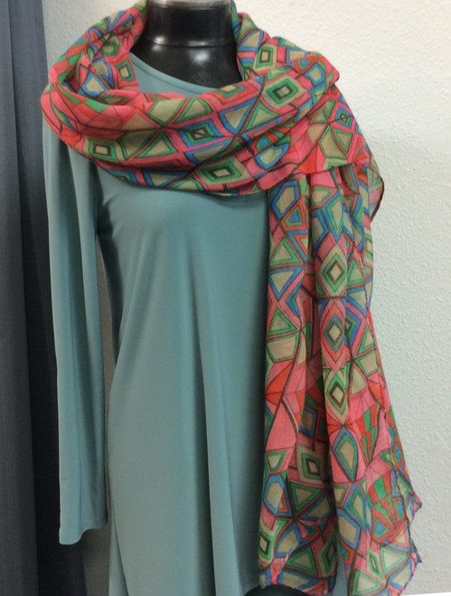 "Oversize Geometric Print Scarf at Bijou's Boutique.  Beautiful colors and soft.  Measures 42"" x 72"".  Can be used as scarf, wrap or sarong."