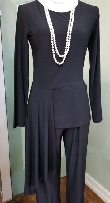 Last Tango Black Side Drape Top at Bijou's Boutique.  Long sleeve with right side drape. 92% Polyester/8% Spandex.