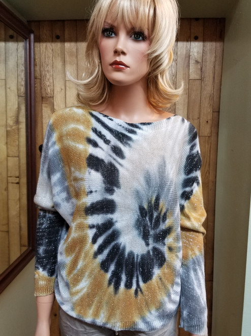 Brand Bazaar Tie Dye Zip Back Sweater at Bijou's Boutique.  Lightweight, Dolman sleeve sweater in Dark Gray, Gray and Rust tones  with Silver flecks throughout. Full Zipper on the back adds a bit of fun to this  sweater. 55% Modal/45% Acrylic.
