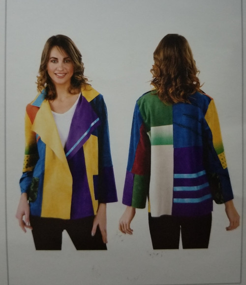 Lemongrass Multi Color Suede Jacket at Bijou's Boutique.  Gorgeous, Lightweight Color blocked short Suede Jacket.  Available for PRE-ORDER ONLY at this time!!